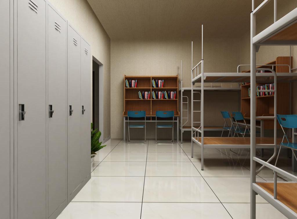 Các sản phẩm giường tầng, tủ đựng đồ, bàn ghế học sinh được bố trí ngăn nắp và tiết kiệm không gian phòng ký túc xá